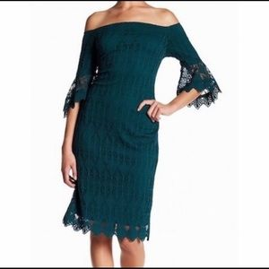 NWT Sharagano  Emerald Green lace dress